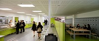 Oasis Academy, Coulsdon, United Kingdom. Architect: Sheppard Robson, 2011. Panoramic cafeteria view.