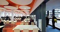 RSA ACADEMY, Tipton, United Kingdom. Architect: John McAslan & Partners, 2011. Panoramic view of cafeteria and glazed corridor.