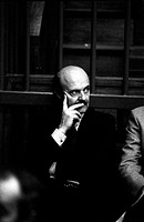 Chairman of Banco Ambrosiano Roberto Calvi taking part in the trial against him. Milan, 1980s