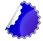Blue round jagged sticker or label over white