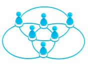 Social network symbol as linked human figures