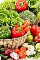 Composition with variety of raw vegetables  Vegetarian diet