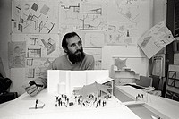 Italian architect Renzo Piano sitting in his office beside the maquette of the tensile structure for the permanent building sites in the old town. Gen...