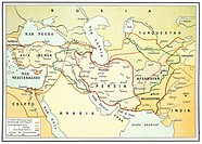 Ancient and modern map of Persia on 1920
