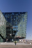Harpa Concert Hall and Conference centre building designed by Hennin Larsen and Batteríið Architects  It is placed at Reykjavik harbour  Iceland
