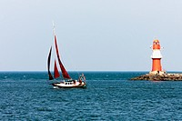 Sailing on the Baltic Sea and Lighthouse _ Warnemünde _ Germany