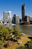 City skyline viewed from across the Brisbane River, Brisbane, Queensland, Australia