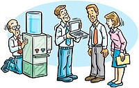 Business people by the watercooler