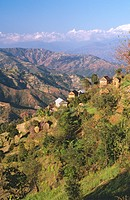 Village on steep slope, Sindhu District, Nepal