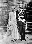 Princess Mafalda of Savoy, daughter of King Victor Emmanuel III of Italy and Philipp of Hesse, Landgrave of Hesse_Kassel celebrating their wedding at ...