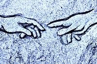 Michelangelos Erschaffung Adams in Stein blau , Michelangelo´s Creation of Adam in blue stone,