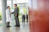 Businessman and doctor shaking hands