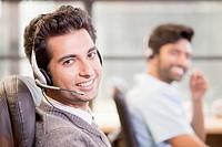 Indian businessman wearing headset