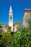 Europe, Montenegro, Budva Bay, Budva Old Town, Church Belltower from City Wall