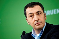 Cem Oezdemir Green Party leader beside Claudia Roth , gives press conference about the latest happenings within the Green Party at Party national offi...