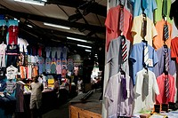 Cloth stand, Sant Antoni market, town of Barcelona, autonomous commnunity of Catalonia, northeastern Spain
