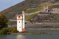 Mouse Tower and Ehrenfels castle, Upper Middle Rhine Valley, World Heritage Site, Bingen, Rhineland-Palatinate, Germany
