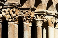 Romanesque capitals in the cloister of the monastery of Santa Maria - L´Estany - Bages - Barcelona - Catalonia - Spain - Europe