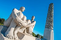 OSLO, NORWAY _ AUGUST 27: Statues in Vigeland park in Oslo, Norway on August 27, 2012.The park covers 80 acres and features 212 bronze and granite scu...