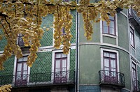 Detail of the front houses in old Port city, Portugal