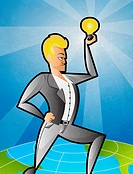 Illustrative image of businessman holding light bulb representing idea