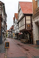 Beautiful timbered houses in Hamelin on the German Fairy Tale Route, Lower Saxony, Germany, Europe
