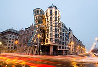 evening winter shot, Dancing House, Prague, Czech Republic Dancing House was designed by Vlado Milunic and Frank Gehry The building was completed in 1...