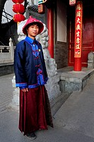 BEIJING_MARCH 12:Chinese man wears traditional silk outfit on Mar 12 2009 Beijing,China Silk is one of the oldest textile fibers known to man It has b...