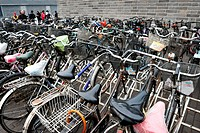 BEIJING _ MARCH 12: Many bicycles in a parking lot outside the temple of heaven on March 12 2009 in Beijing,China There are over a half billion bicycl...