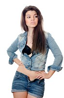 The beautiful girl in jeans shorts isolated