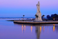Huelva, Monument to Christopher Columbus at Dawn, Punta del Sebo, Andalusia, Spain