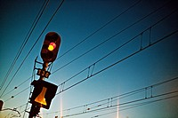 Railway traffic lights and power cables