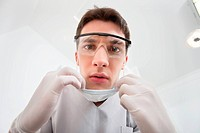 Dentist wearing mask