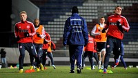 Danish national soccer players train in Olomouc on March 21, 2013 before the World Cup qualifying match against Czech Republic. (CTK Photo/Ludek Perin...