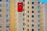 Turkey, Turkish riviera, Antalya, buildings and turkish flag