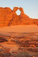 Algeria, Africa, north Africa, desert, sand desert, Sahara, Tamanrasset, Hoggar, Ahaggar, rock, rock formation, Tassili du Hoggar, morning, morning li...