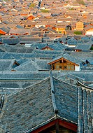 roofs of lijiang old town, yunnan, china