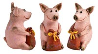 Toy pigs with a bags of money