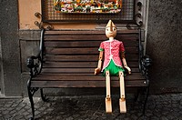 Pinocchio Sitting on a Wooden Bench  Orvieto, Umbria, Italy