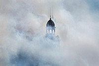 Smoke covers City Hall square during 'Masclet&#224;' fire works, 'Fallas' festival. Valencia. Spain, March 2013
