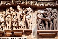 Erotic carvings at Lakshmana temple  Khajuraho, Madhya Pradesh, India.
