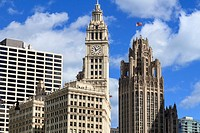 The Wrigley Building and Tribune Tower, Chicago, Illinois, United States of America, North America