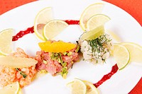 Trio of Tartarus meal of raw fish