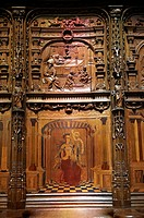 16th century Renaissance Gothic style stalls with wood sculptures & inlays ordered by cardinal Georges d'Ambrose of Rouen. The Gothic Cathedral Basili...