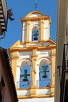 Belfry church in Santa Cruz district of Seville, Andalusia, Spain