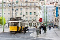 Tram line No 12, Alfama District, Lisbon, Portugal, Europe