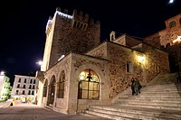Bujaco tower (12th century) and Ermita de la Paz (18th c.). Main Square. Caceres. Extremadura. Spain
