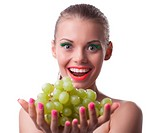 funny young woman offer green grapes isolated