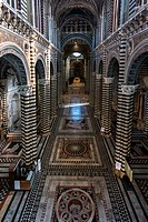 Italy, Siena, inlays of colored marbles of the Duomo's floor