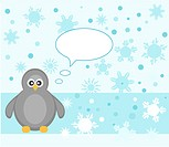 Penguin on snowy background
